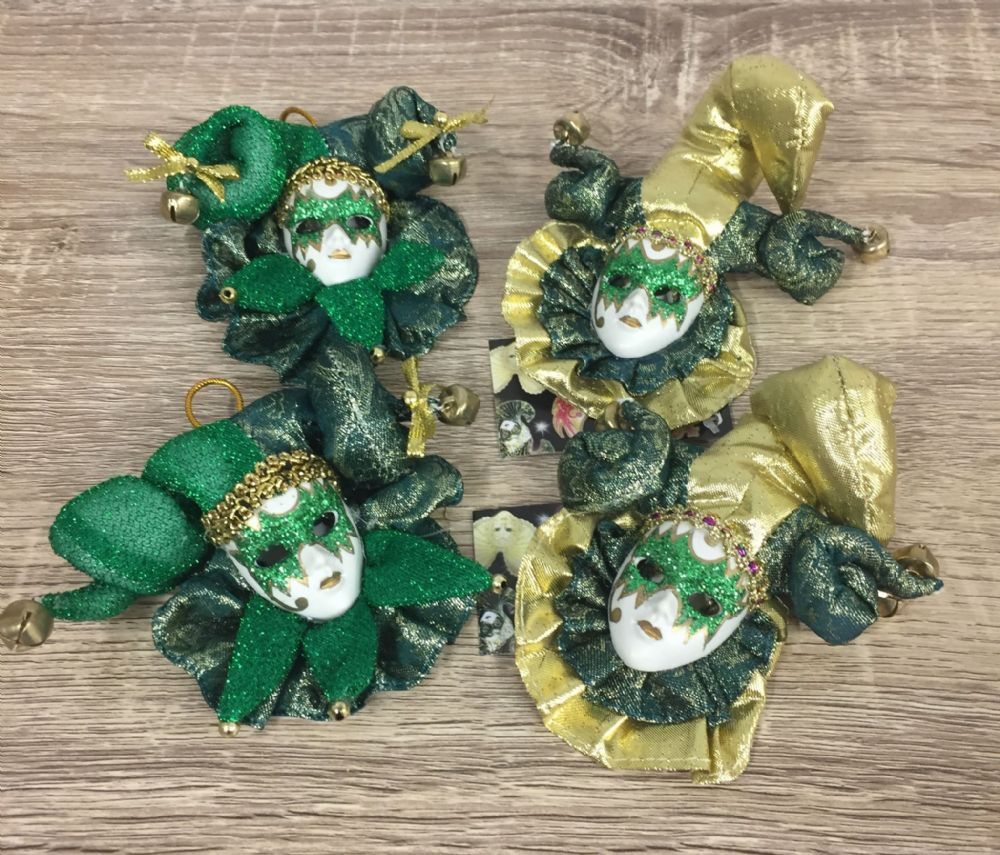Set of 4 Jester Masquerade Wall or Tree Hanging ~ GREEN & GOLD